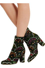 Brian Atwood Talise printed velvet ankle boots