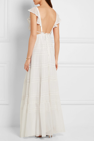 Needle & Thread   Bridal lace-paneled silk-crepe gown   NET-A ...