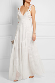 Needle & Thread Bridal lace-paneled silk-crepe gown