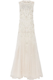 Bridal lace-trimmed embellished tulle gown