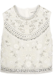 Needle & Thread Bridal cropped embellished chiffon top