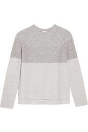 Color-block ribbed wool and cashmere-blend sweater