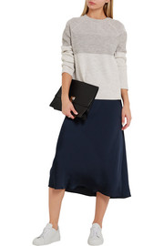 Vince Color-block ribbed wool and cashmere-blend sweater
