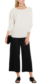 Vince Cropped washed-satin wide-leg pants