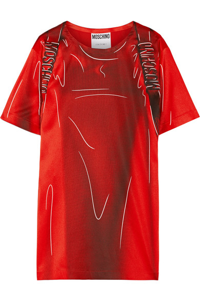 Moschino - Printed Stretch-satin T-shirt Dress - Red
