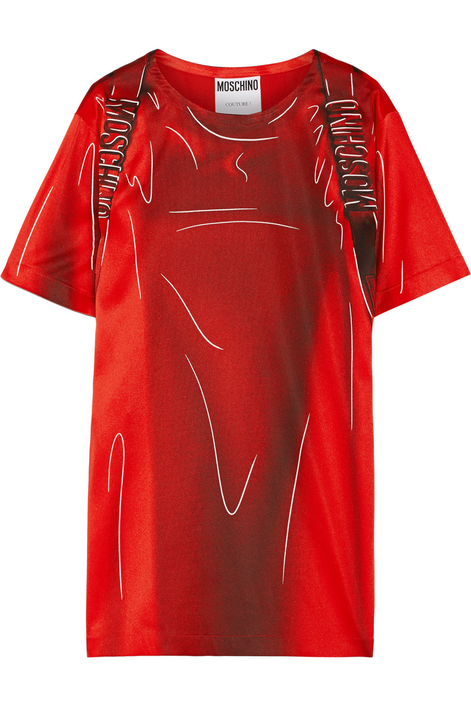 Moschino Printed Stretch-Satin T-Shirt Dress, Red, Women's - Printed, Size: 46