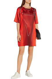 Moschino Printed stretch-satin T-shirt dress