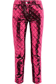Printed crepe slim-leg pants