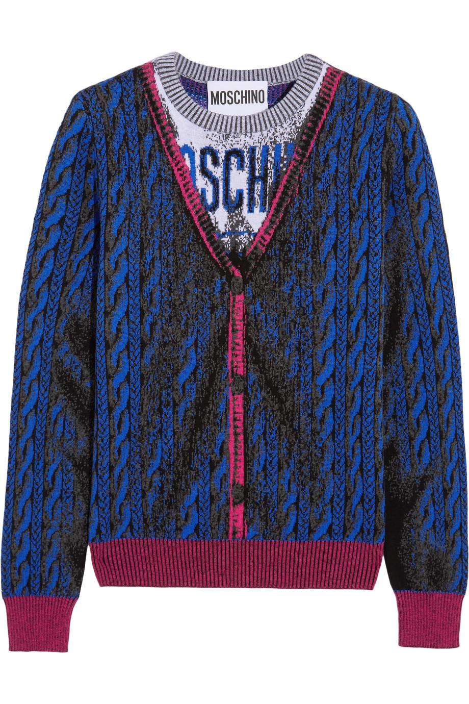 Moschino Intarsia Wool Sweater, Blue, Women's, Size: 40