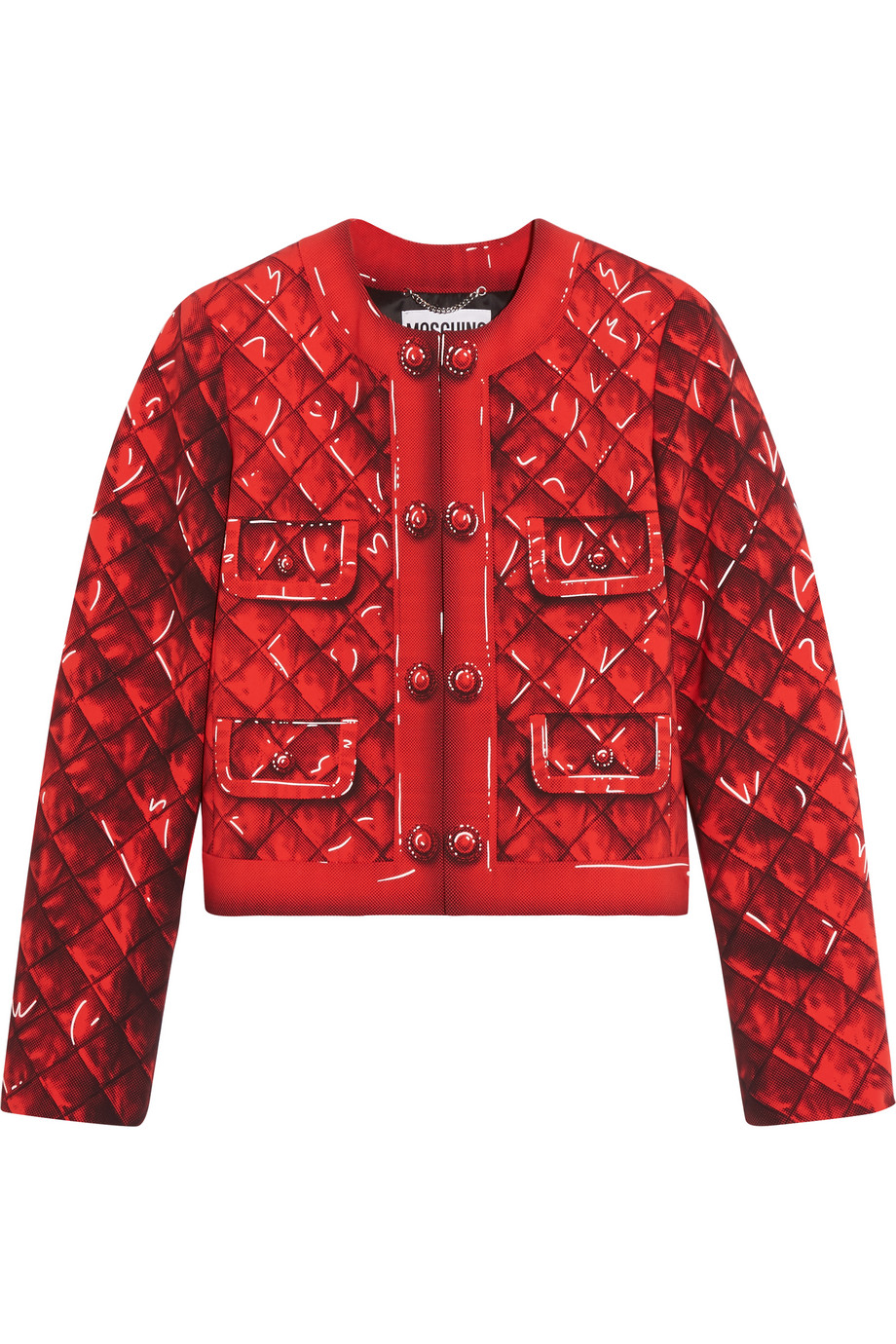 Moschino Printed Crepe Jacket, Red, Women's, Size: 42