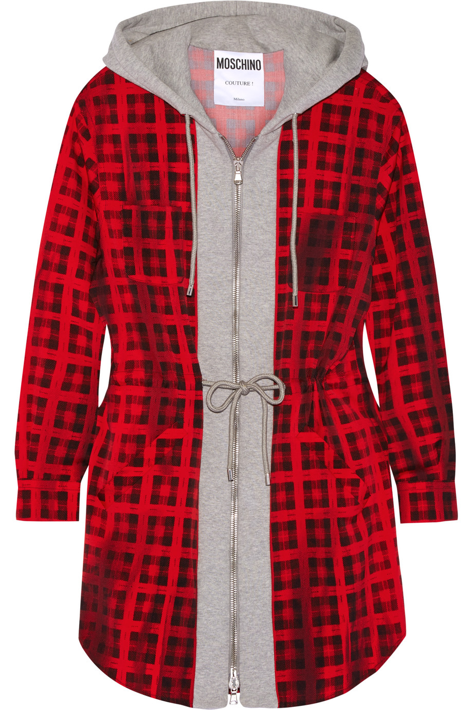 Moschino Hooded Checked Wool-Blend and Cotton-Jersey Mini Dress, Red, Women's - Checked, Size: 44