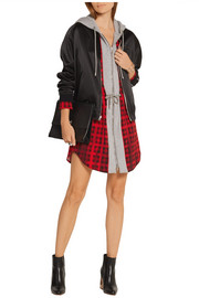 Moschino Hooded checked wool-blend and cotton-jersey mini dress