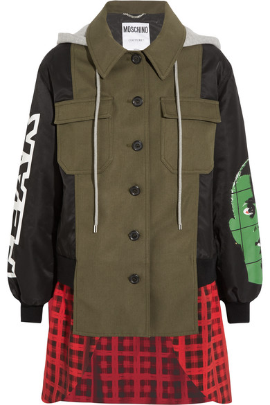 Moschino - Hooded Printed Shell, Checked Wool-blend And Cotton-blend Canvas Jacket - Green
