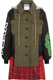 Hooded printed shell, checked wool-blend and cotton-blend canvas jacket