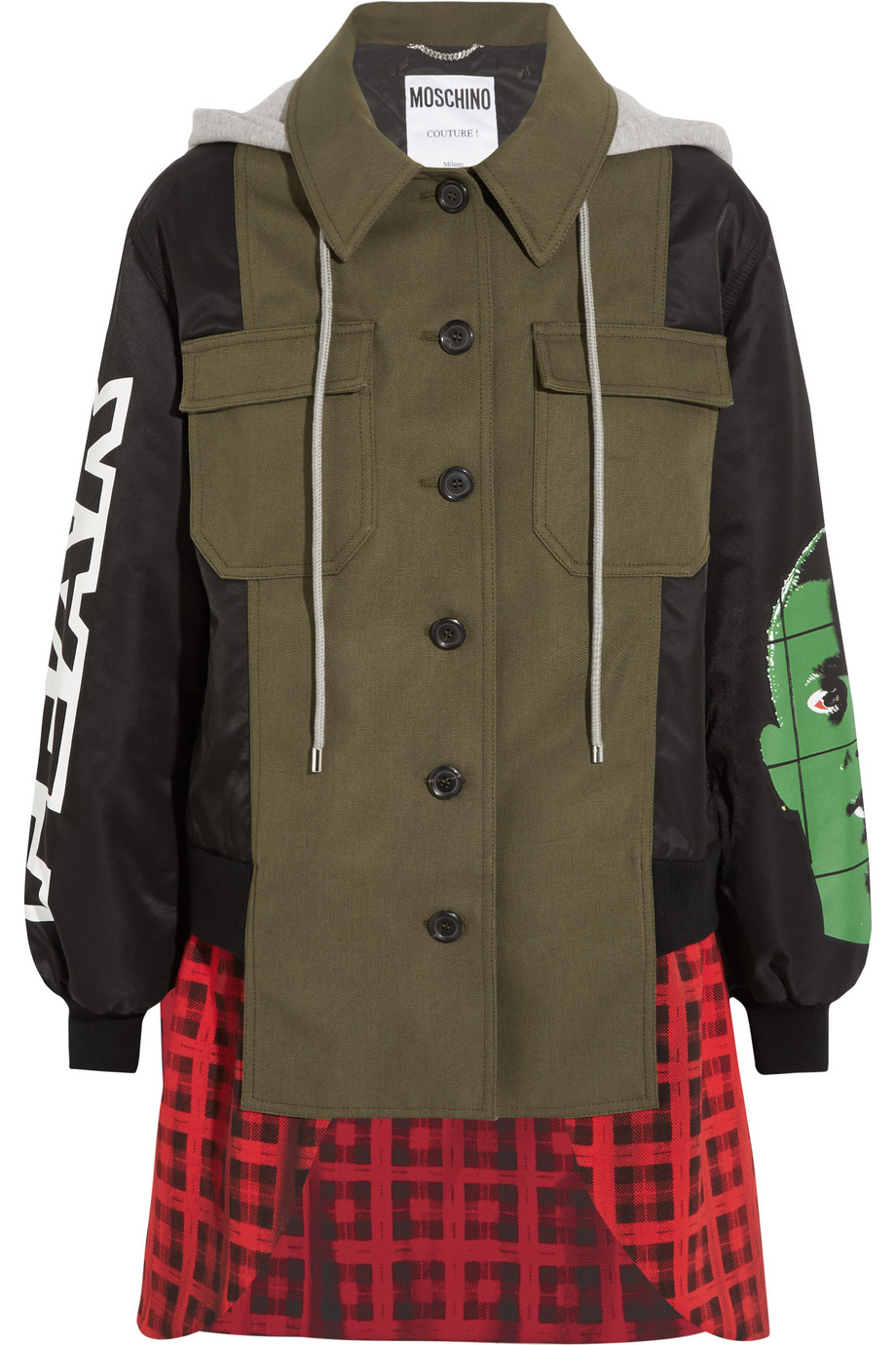Moschino Hooded Printed Shell, Checked Wool-Blend and Cotton-Blend Canvas Jacket, Green, Women's, Size: 38