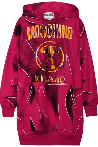 Moschino - Oversized Printed Jersey Sweatshirt - Magenta