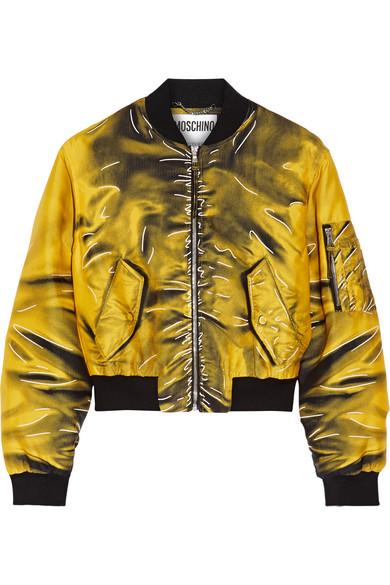 Moschino - Printed Gabardine Bomber Jacket - Marigold
