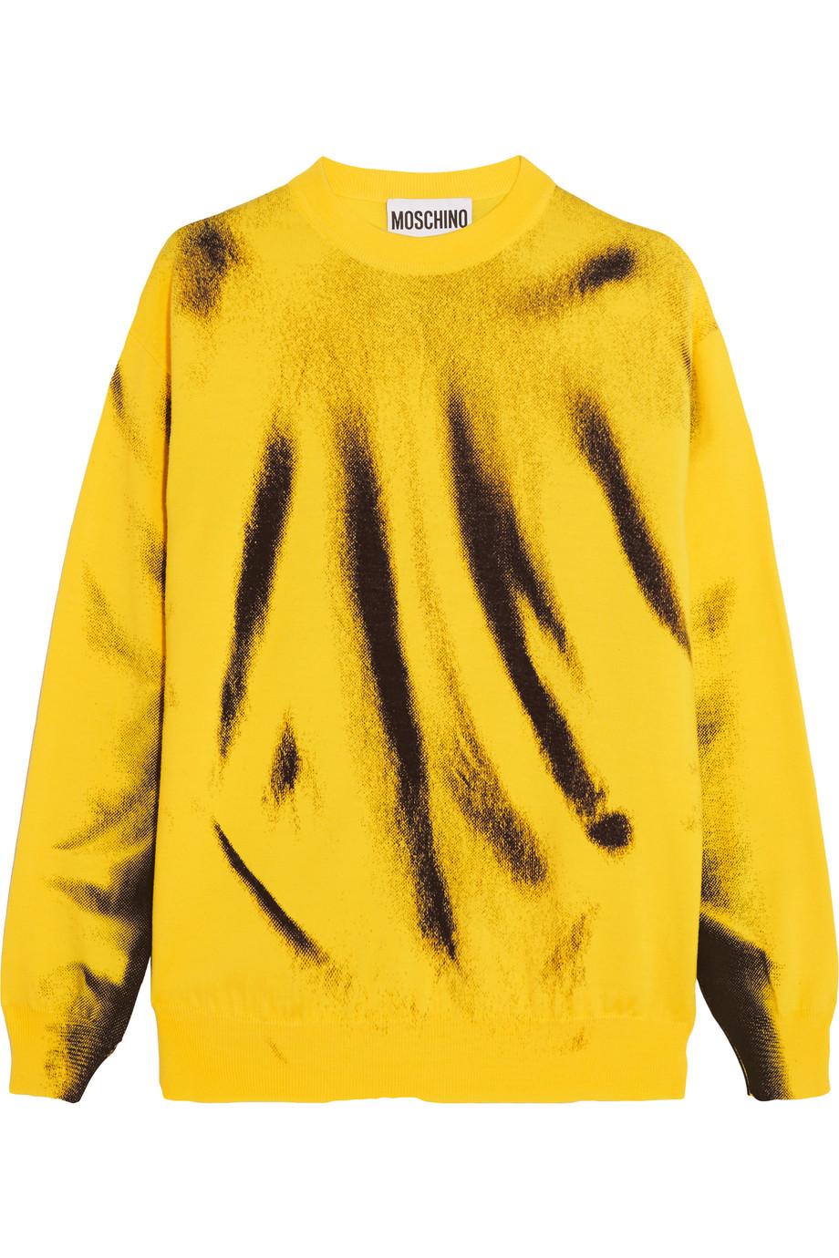 Moschino Printed Wool Sweater, Yellow, Women's, Size: XS