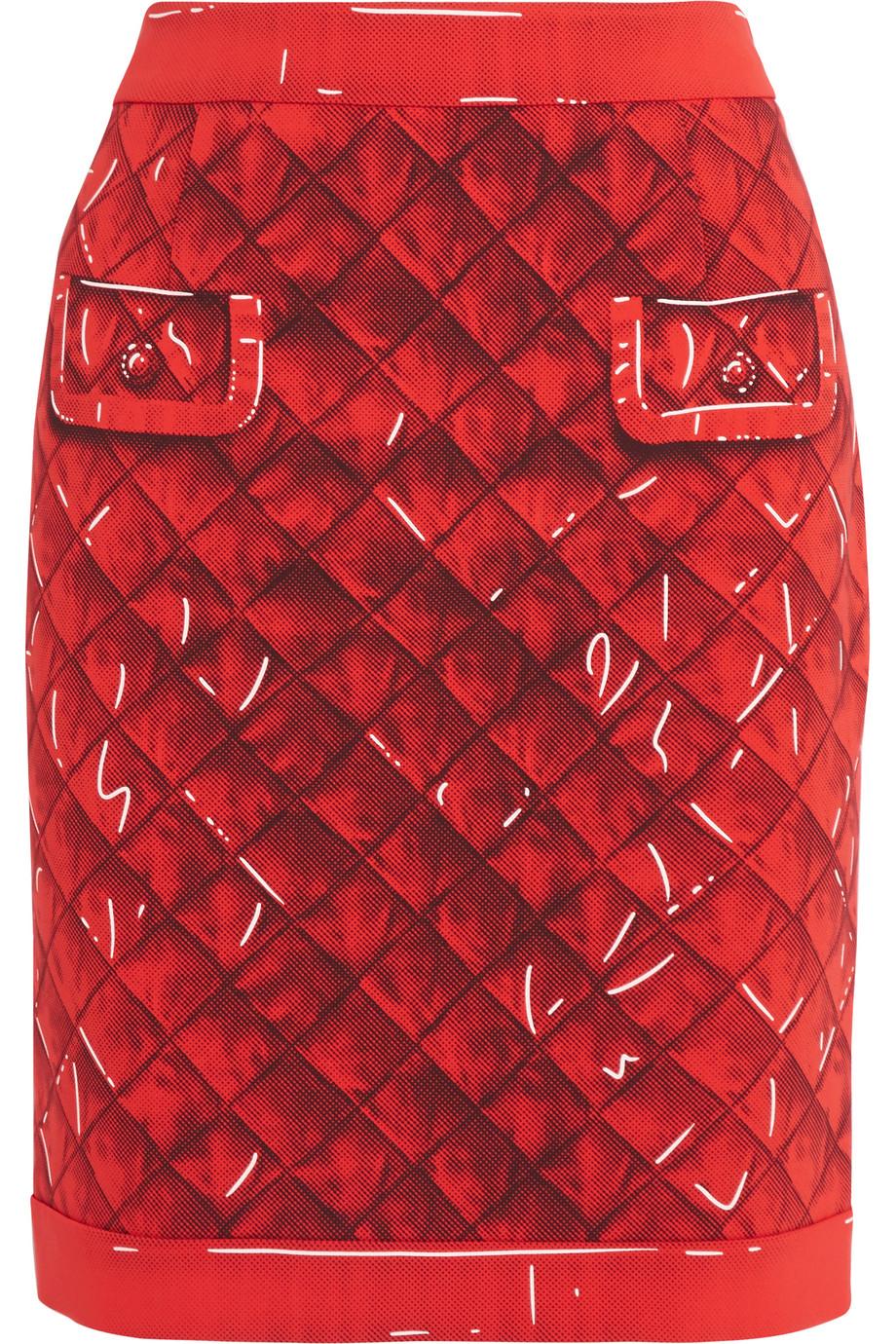 Moschino Printed Crepe Skirt, Red, Women's, Size: 44