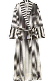 Capability Nika striped silk-satin robe