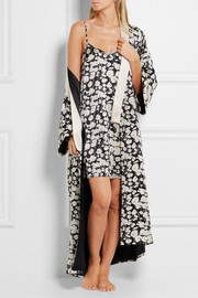 Queenie Sabine printed silk-satin robe
