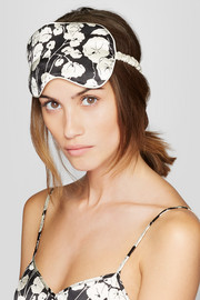 Sabine floral-print silk-satin eye mask