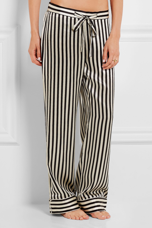 Olivia von Halle Lila striped silk-satin pajama set