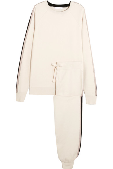 Olivia von Halle - Moscow Striped Silk-blend Sweatshirt And Track Pants Set - Ivory