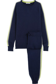 New York striped silk-blend sweatshirt and track pants set