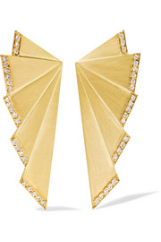 Fan 18-karat gold diamond earrings