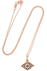 Kitten Eye 18-karat rose gold diamond necklace