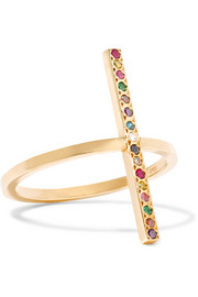 Ileana Makri 18-karat gold diamond and multistone ring