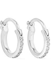 18-karat white gold diamond hoop earrings
