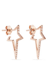 Diane Kordas Star Hoop 18-karat rose gold diamond earrings