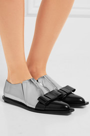 Marni Bow-embellished glossed-leather loafers