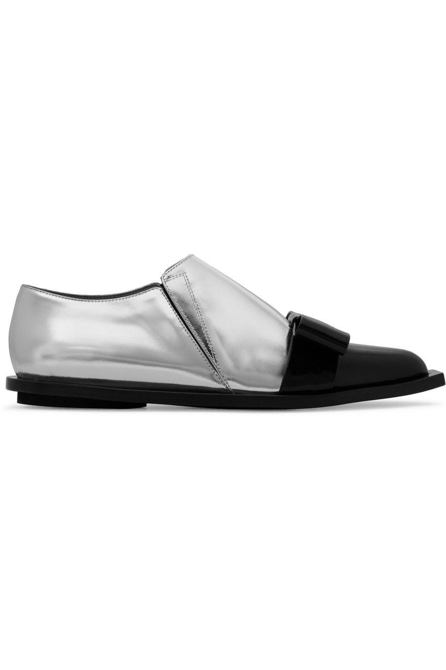 Marni Bow-Embellished Glossed-Leather Loafers, Silver, Women's US Size: 6.5, Size: 37