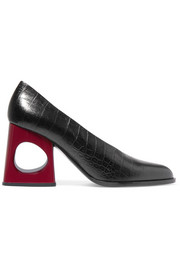 Marni Cutout croc-effect leather pumps