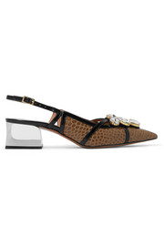 Marni Embellished croc-effect leather slingback pumps