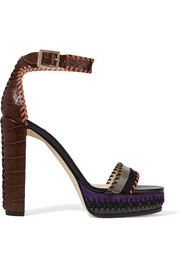 Jimmy Choo Holly suede-trimmed croc-effect leather platform sandals