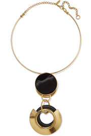 Marni Gold-plated, resin and textured-leather necklace