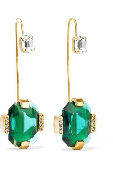 Marni - Gold-plated Crystal Earrings
