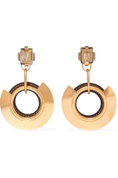 Marni - Gold-tone, Leather And Crystal Earrings