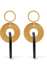 Gold-tone and leather earrings