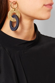 Marni Gold-tone and leather earrings