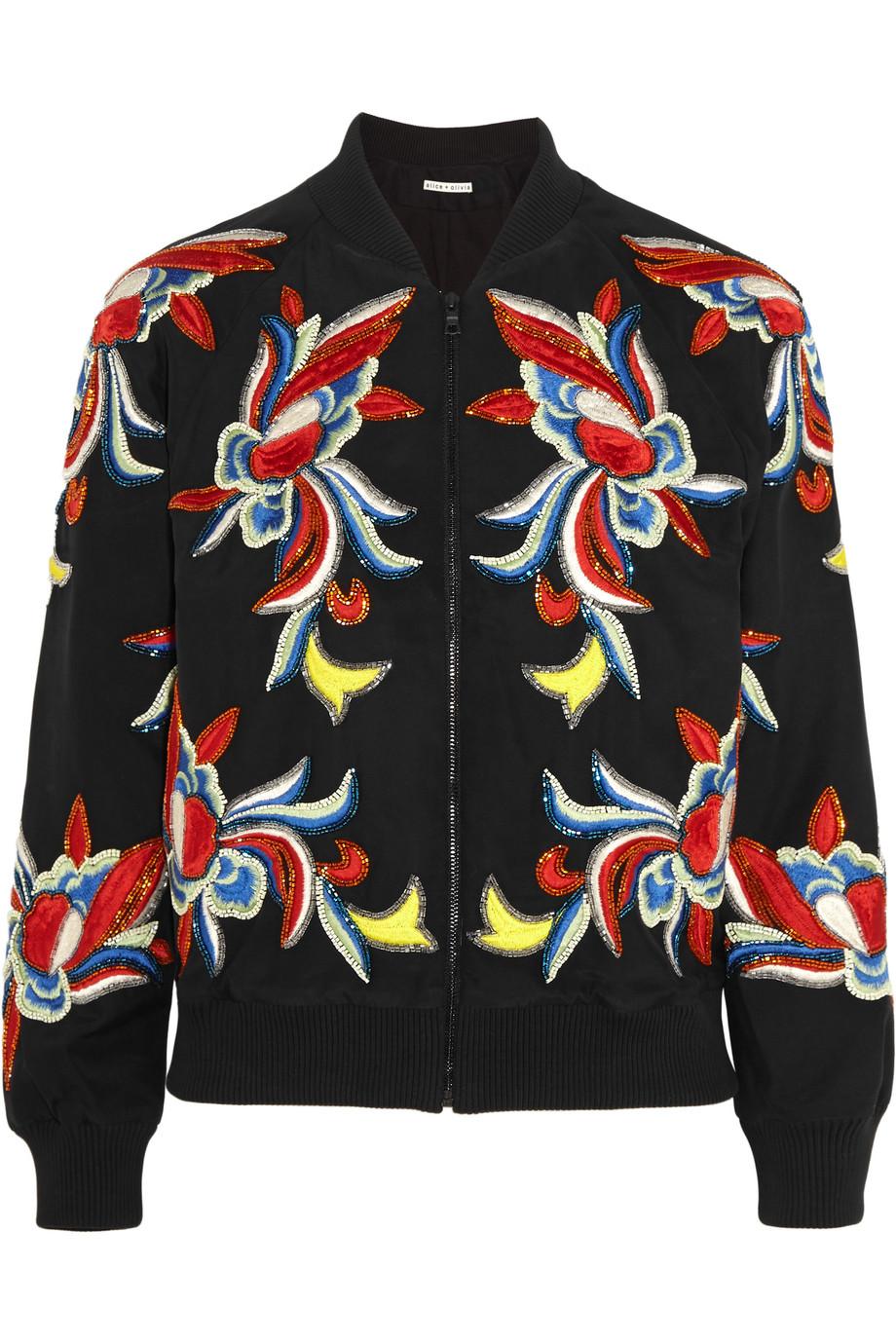 Alice + Olivia Felisa Embellished Embroidered Silk Bomber Jacket, Black, Women's