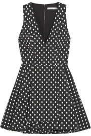 Tanner polka-dot stretch-jacquard mini dress