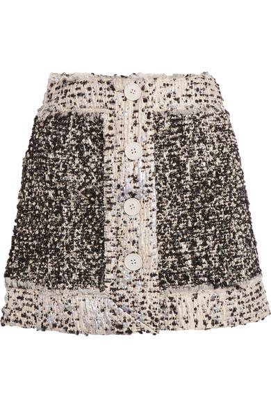 Christopher Kane - Metallic Bouclé-tweed Mini Skirt - Black