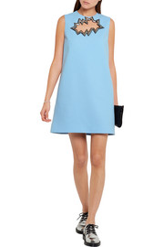 Christopher Kane Metallic PVC-trimmed cutout wool-crepe mini dress