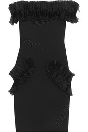 Christopher Kane Off-the-shoulder plissé organza-ruffled stretch-crepe mini dress