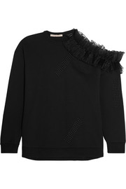 Cutout ruffle-trimmed cotton-jersey sweatshirt